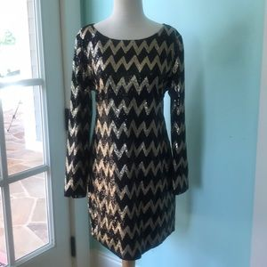 Piperlime Chevron Gold and Black Sequin Dress